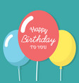 happy birthday to you three balloon background vec vector image vector image