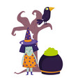 happy halloween witch cauldron raven in tree vector image