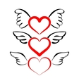 Heart with wings collection cartoon vector image vector image