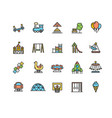 kid playground sign color thin line icon set vector image vector image