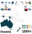 Maps with flags of Oceania vector image vector image