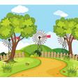 nature scene with wind turbines vector image vector image