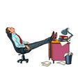 office worker manager resting in a work chair vector image vector image