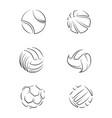 outline sport balls set background vector image