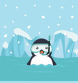 penguin cartoon with diving equipment vector image vector image
