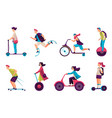 people on electric scooter segway hoverboard set vector image