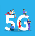 people with gadgets sitting on big 5g symbol vector image