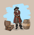 pirate with a hat and a cutlass near the barrel vector image vector image