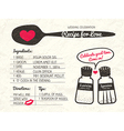 recipe card creative wedding invitation design vector image vector image