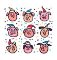 santa pigs funny pigs with santa hats 2019 vector image vector image