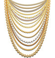 set gold chains and beads in a large necklace vector image vector image