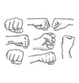 set of fists vector image vector image