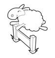 sheep jumping over barrier icon outline style vector image vector image