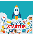 startup new business project with rocket image vector image