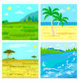 steppe and beach savannah and river traveling vector image