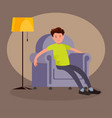 tired man sitting in an easy chair vector image vector image