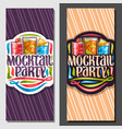 vertical banners for mocktail party vector image vector image