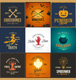 vintage halloween party cards labels vector image vector image