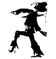 walking zombie silhouette2 vector image vector image
