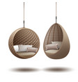 wicker hanging chairs vector image vector image