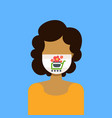 woman wearing protective face mask with potted