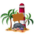 wooden sign with lighthouse and shells in vector image