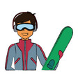 young man with snowboard vector image