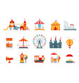 Amusement park flat elements fun icons vector image