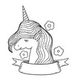 beautiful little unicorn with flowers and ribbon vector image