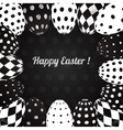 Black and white background easter eggs
