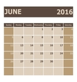 Calendar June 2016 week starts from Sunday vector image vector image