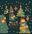 cartoon christmas set with little girl and bear vector image