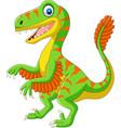 cartoon green velociraptor on white background vector image vector image
