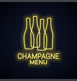 champagne bottle neon sign champagne neon banner vector image