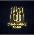 champagne bottle neon sign neon banner vector image