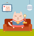 Character winner with a medal colorful flat vector image