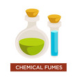 chemical fumes flask with corks allergy and vector image