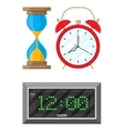 Clocks set hourglass analog and digital clock vector image vector image