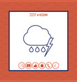 cloud thunderstorm lightning rain line icon vector image vector image