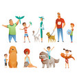 collection people with pets isolated on white vector image vector image