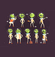 cute aliens in space suits spaceship crew of vector image vector image