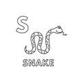 cute cartoon animals alphabet snake vector image vector image