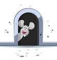 cute cartoon mouse on white background vector image vector image