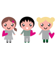 Cute Kids with pink Hearts isolated on white vector image vector image