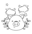 cute pig face cartoon vector image vector image