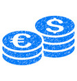 dollar and euro coin stacks grunge icon vector image vector image
