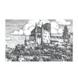 engraved of medieval castle vector image