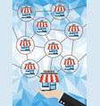 franchise business system with polygon background vector image vector image
