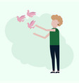girl releases pink pigeons vector image