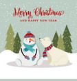 gorgeous christmas card with snowman and polar vector image vector image